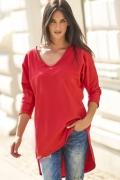 Красная удлиненная блузка Numinou NU115
