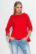 Блузка с капюшоном красного цвета Makadamia M324