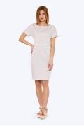 Бежевое платье-футляр в белый горох Emka PL-594/manuila