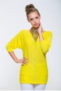 Удлиненный женский джемпер жёлтого цвета Issi 171903