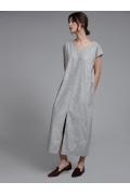 Серое прямое платье с V-образным вырезом Emka PL1041/minimal
