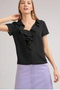 Блузка с рюшами черного цвета Emka B2413/acsela