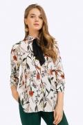 Блузка с контрастным чёрным бантом Emka B2376/villers