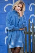 Синее вязаное платье оверсайз Fobya F574