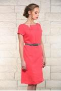 Льняное платье кораллового цвета Issi 171531