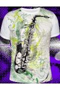 Белая мужская футболка Saxophone