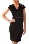 Черное платье с коротким рукавом | П139-1421-1088