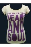 "Желтая женская футболка ""Listen to your heart and soul"""