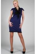 Синее платье с черным рукавом   9796