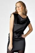 Черное атласное платье | П104-300