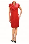 Красное габардиновое платье | П131-1629