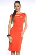 Платье-футляр модного оранжевого цвета | DSP-70-40