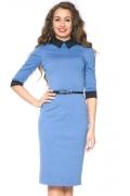 Голубое платье с черным воротником | DSP-76-43t