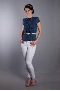 Синяя блузка в белый горошек | Б891-2026