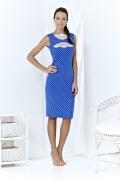 Синее платье в белый горох | A3 070