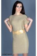 Короткое трикотажное платье бежевого цвета | 8019