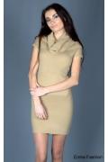Эффектное платье песочного цвета | 8001
