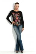 Черная блузка с принтом Donna Saggia DSB-23-4t