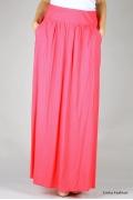 Длинная летняя юбка розового цвета Emka Fashion 309-megan