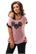 Летняя розовая блузка Enny 17006