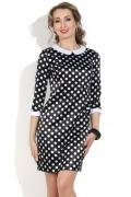 Черное атласное платье в горошек Donna Saggia DSP-144-4