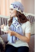 Комплект (берет + шарф) сиреневого цвета Landre Андреа