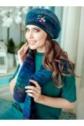 Комплект (берет + шарф) синего цвета Landre Буржуа