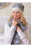 Комплект (шапка+шарф) Landre Вероника (серый с черным)