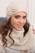 Комплект (шапка+шарф) молочного цвета Landre Тамара
