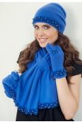 Синий комплект (шапка+шарф+варежки) Landre Лариса