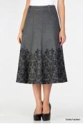Серая юбка с черным орнаментом Emka Fashion 435-nelly