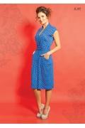Голубое платье в горошек TopDesign A5 092
