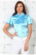 Голубая атласная блузка Remix | 4619