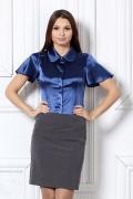 Атласная блуза синего цвета / 4619/1