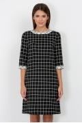 Чёрно-белое платье с клетку Emka Fashion PL-415/raida