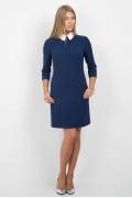 Синее платье с белым воротнич-ком Emka Fashion PL-440/velmira