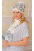 Комплект (шапка + шарф) Landre Бриджит (молоко/серый)