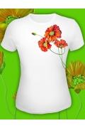 """Белая клубная футболка """"Красные маки"""""""