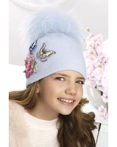 Шерстяная шапочка для девочек с помпоном Willi Mulan