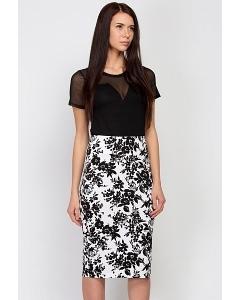 Чёрно-белая летняя юбка Emka Fashion 605-iya