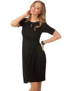 Чёрное трикотиновое платье