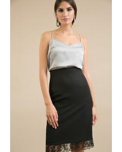 Нарядная чёрная юбка с кружевом по низу Emka S797/premiera
