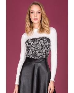Белая блузка с чёрным кружевом Zaps Elice
