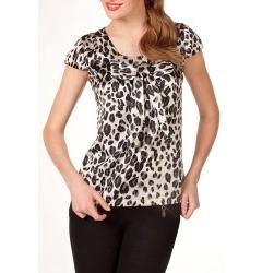 Атласная черно-белая блузка