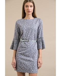 Короткое серое платье в мелкий горох Emka PL848/optima