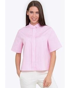 Розовая женская рубашка с коротким рукавом Emka b 2211/elizabeth