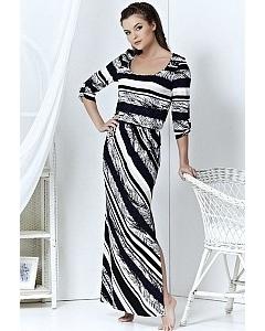 Длинное черно-белое платье | A3 085