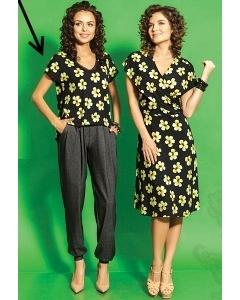 Чёрная блузка в цветочек TopDesign A5 048