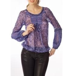 Шелковая синяя блуза Golub