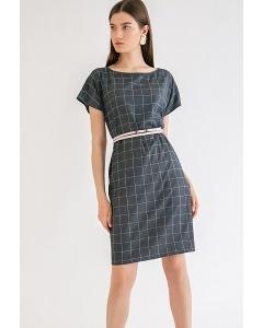 Платье темно-синего цвета в клетку Emka PL995/rosilia